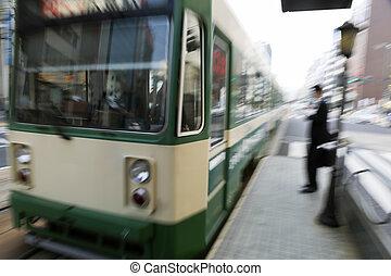 arrivare, treno, motion-blurred, intentionally