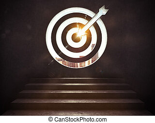Arrive at a goal of success.the stairs up to a target. 3D Rendering