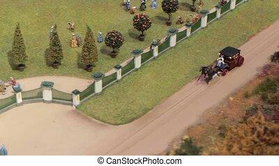 arrive, voiture, cheval-dessiné, royal