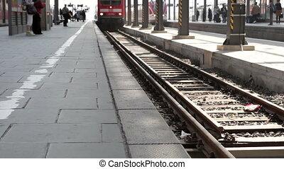 Arriving German S-Bahn - Wiesbaden, Germany - March 13,...