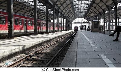 Arriving German S-Bahn - Arriving S-Bahn at German train...