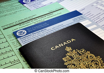 Arriving in the USA: Canadian Passport and USA Customs forms
