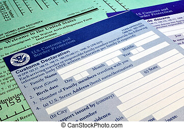 Arriving in the USA: Customs forms - Customs forms at border...