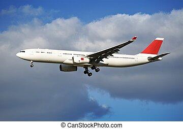 arrivo, aereo di linea
