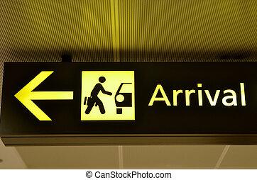 arrivo, aeroporto, segno