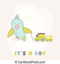 arrivo, carino, pappagallo, train., doccia, vettore, bambino, o, scheda