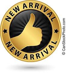 arrivo, dorato, su, pollice, illustrazione, segno, vettore, nuovo