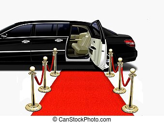 arrivo, nero, limousine, moquette rossa