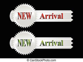arrivo, nuovo, etichetta, argento, icona
