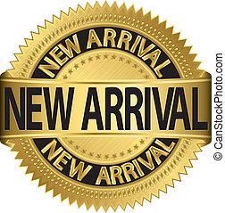 arrivo, nuovo, etichetta, vecto, dorato