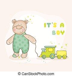 arrivo, -, orso, doccia, vettore, bambino, o, scheda