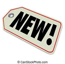 arrivo, prodotto, newest, affare, cartellino del prezzo, merce, nuovo, speciale