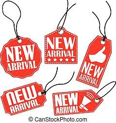 arrivo, set, etichetta, illustrazione, vettore, nuovo, rosso