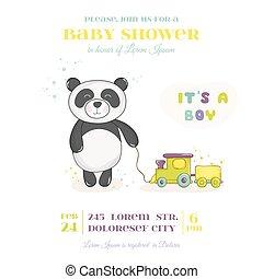 arrivo, toy-, treno, -, o, doccia, vettore, bambino, panda, scheda