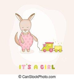 arrivo, treno, canguro, -, doccia, vettore, bambino, o, scheda
