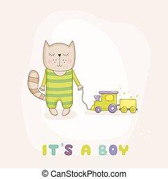 arrivo, vettore, -, gatto, doccia, treno, bambino, o, scheda