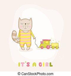 arrivo, vettore, -, gatto, doccia, treno, ragazza bambino, o, scheda