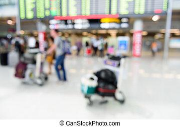 arrivo, volo, immagine, fondo., passengerat, asse, offuscamento, aeroporto, astratto