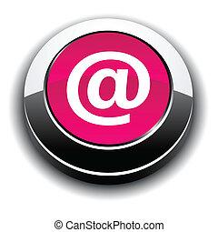 Arroba 3d round button. - Arroba metallic 3d vibrant round...
