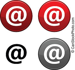 Arroba button. - Arroba round buttons. Black icon included....