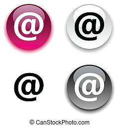 Arroba button. - Arroba glossy round vector buttons.