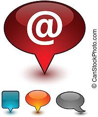 Arroba speech comic icons. - Arroba glossy speech vector...