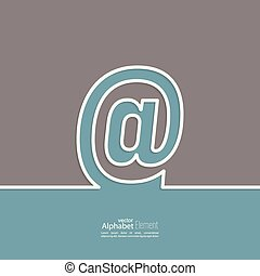 Arroba symbol. At sign outline. abstract background....