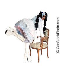 arrodillar, muñeca, sillón, anciana, bebé