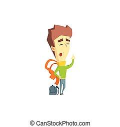 Arrogant Boy Emotion Icon - Arrogant Boy Flat Vector Emotion...