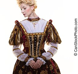 arrogante, reina, real, aislado, vestido blanco