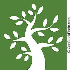 arrojado, árvore, experiência verde, branca, ícone