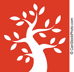 arrojado, árvore, fundo, laranja, branca, ícone