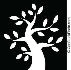 arrojado, árvore, fundo, pretas, branca, ícone