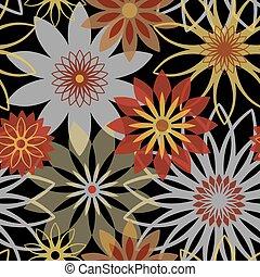 arrojado, flores, em, pretas