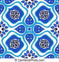 arrojado, padrão, ornamento, seamless, vetorial, floral