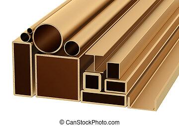 arrollado, cobre, metal, productos, pila