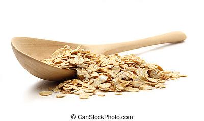 arrollado, cuchara de madera, montón, avenas