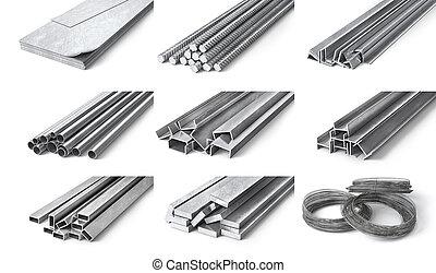 arrollado, metal, products., acero, perfiles, y, tubes., 3d,...