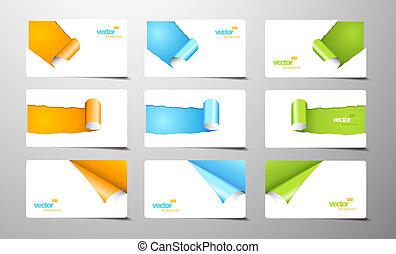 arrollado, tarjetas, conjunto, corners., regalo