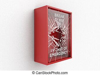arrombe, caso, de, emergência, caixa vermelha