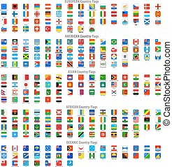 arrondi, carrée, vecteur, drapeau national, icônes