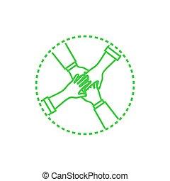 arrondi, collaboration, vecteur, collaboration, mains, icône