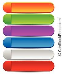 arrondi, coloré, espace, bouton, arrière-plans, ou, message., vide, bannière, ton