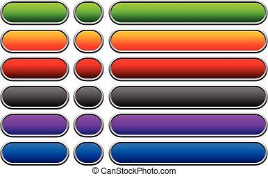 arrondi, coloré, espace vide, bouton, boutons, backgrounds., horizontal, bannière
