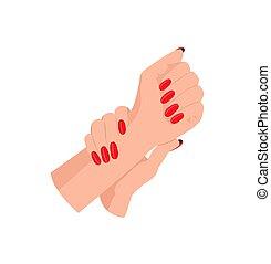 arrondi, femme, clous, manucure, mains, rouges
