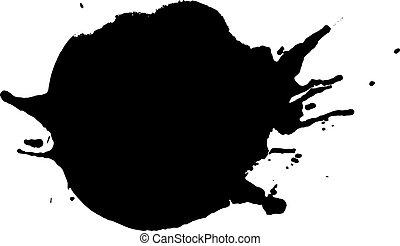 arrondi, goutte, illustration, éclaboussure, encre noire, ou