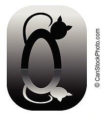 arrondi, logotype, chat, chats, noir, miroir, étiquette, blanc, silhouette, dessin animé