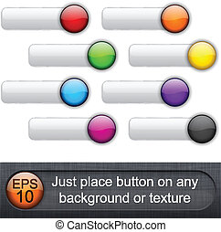 arrondi, lustré, buttons.