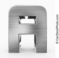 arrondi, métal, 3d, isolé, lettre, cubique, blanc