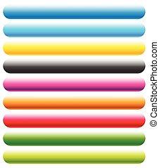 arrondi, space., bouton, banners., fond, vide, horizontal, bannière, rectangle